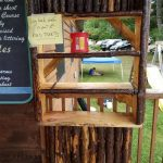 A handmade bookshelf for the raffle.